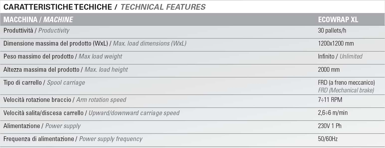 Ecowrap XL specification sheet