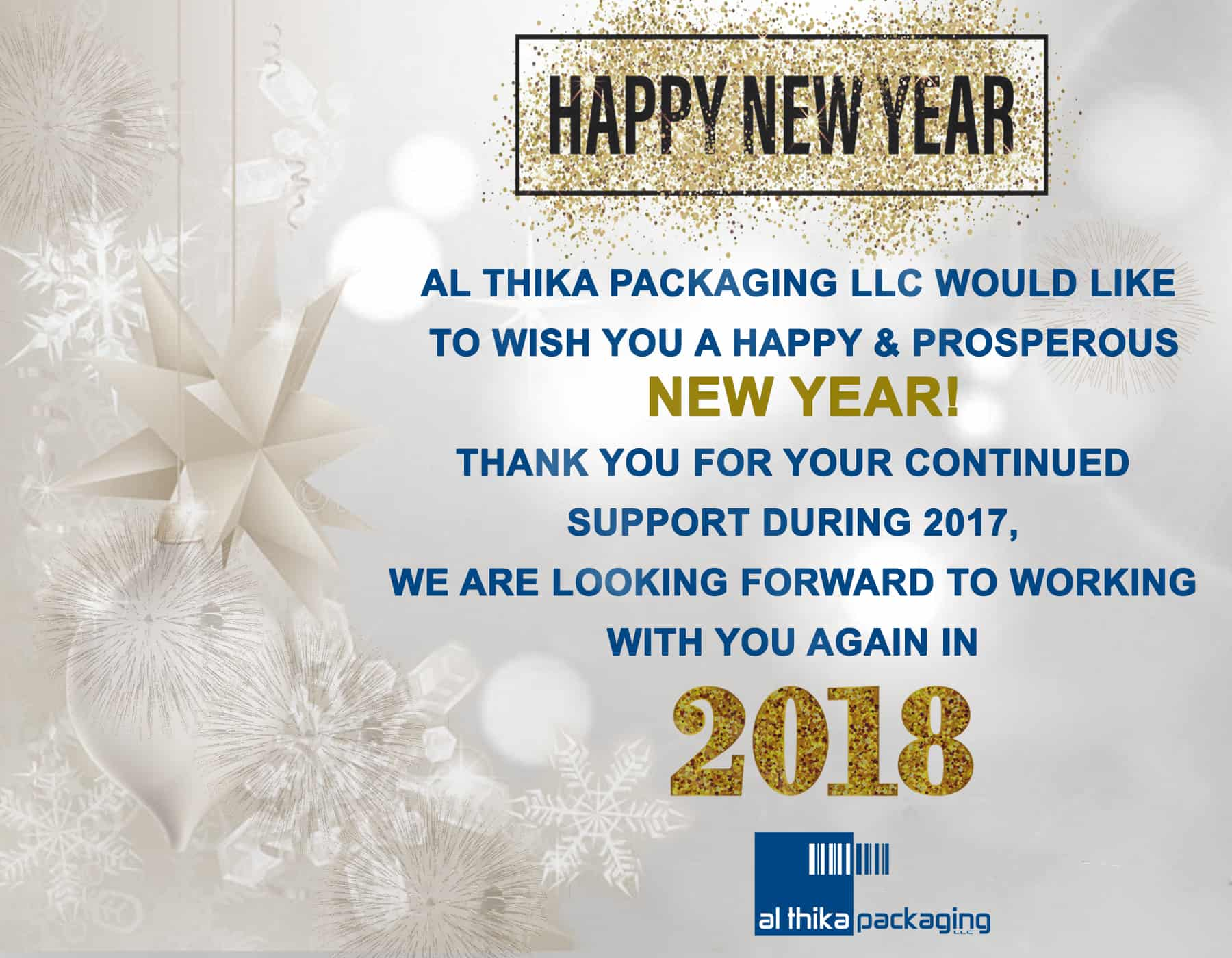 New year greeting, New year 2018,happy new year,Al Thika Packaging,2018,packaging