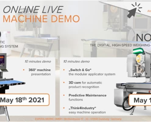 Espera live demo, live demo, weighing and labelling machine live demo, machine demo